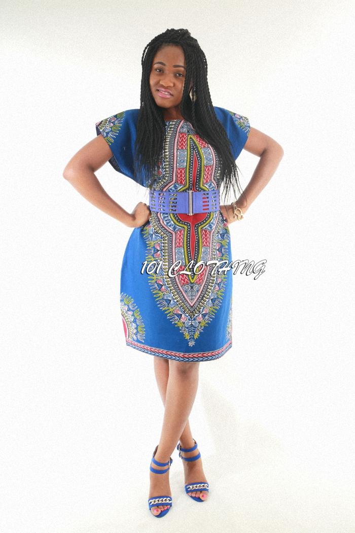 Royal blue Dashiki Pattern dress (2)3