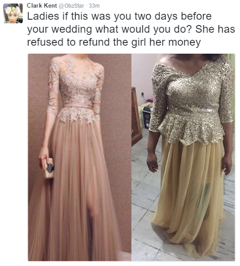 Nigerians React To Brides Reception Dress Badly Sewn By Nigerian